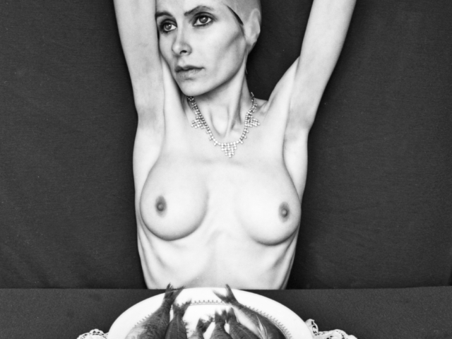 I pose naked in front of a plate of dead fishes.The entire picture reminds ballerina world. Sadness and absence empower the scene.
